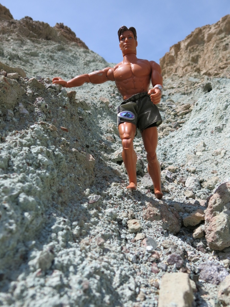 Doug hikes on weird blue dirt in Death Valley.