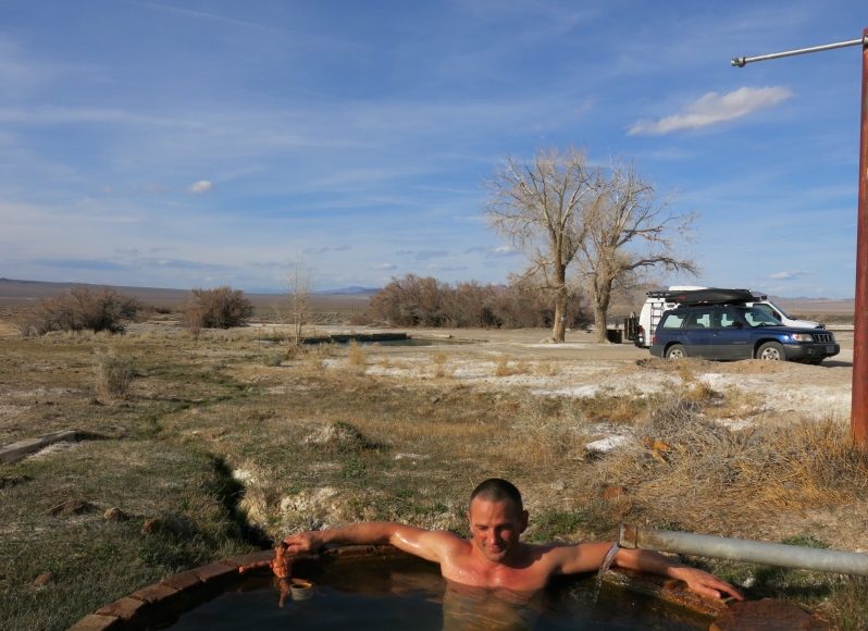 North of Death Valley, outside of Goldfield, NV, Doug and Mike share a soak before heading back to Portland.