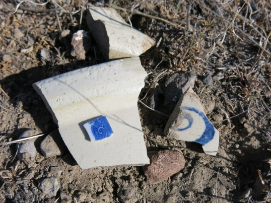 Outside, I found broken bits of kitchenware. Maybe the blue pieces were some poor woman's prized china plates.