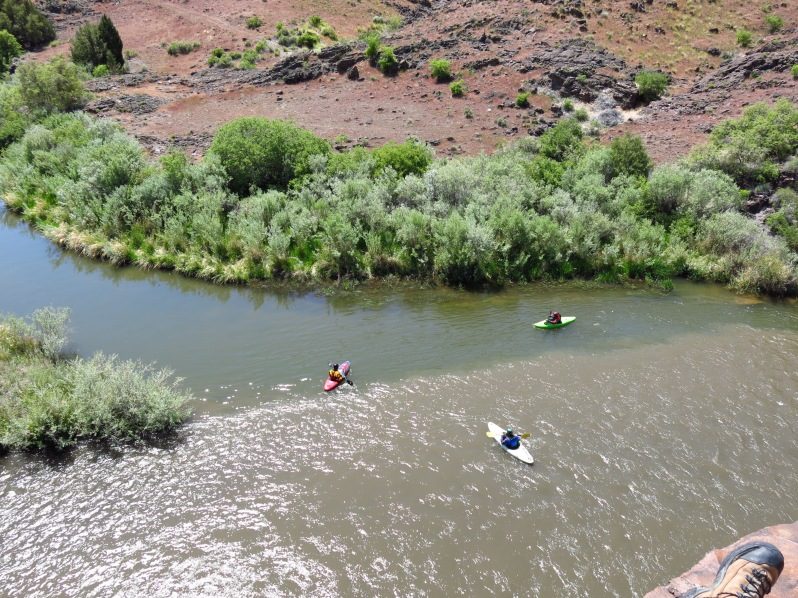 A group of kayakers check out the confluence of the Jarbidge (bottom) and Bruneau (top) rivers.