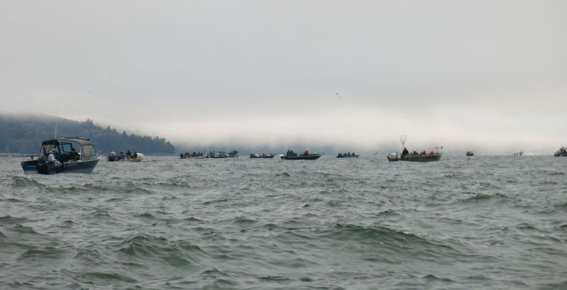 Salmon fishing at the mouth of the Columbia River with thousands of our friends.
