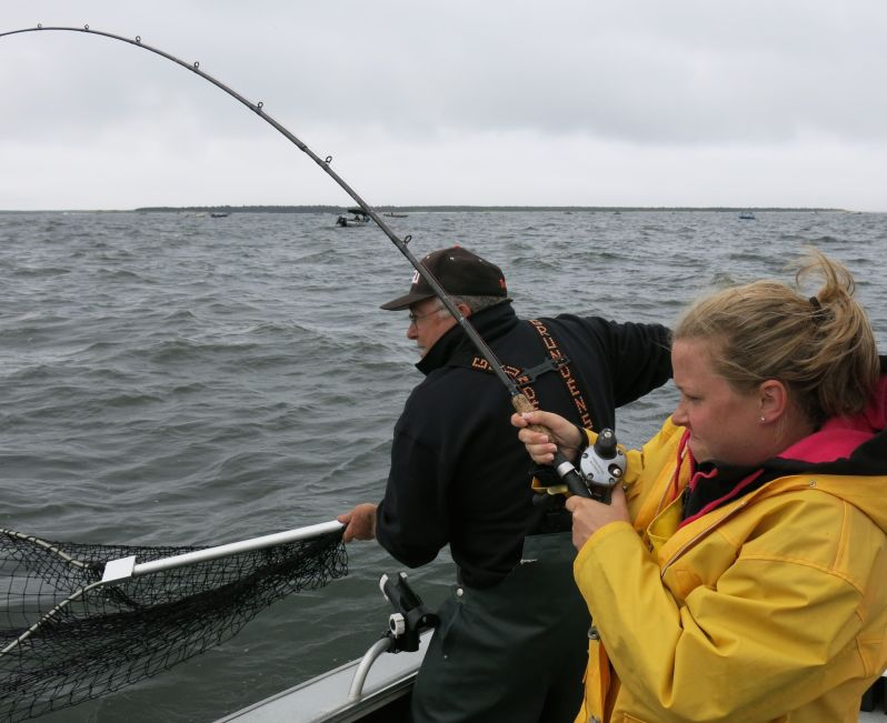 Amy hauls in a big one.