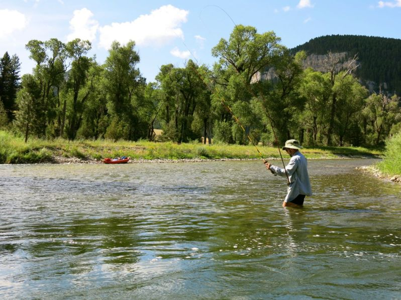 Mike fishing with double Tenkara rods.